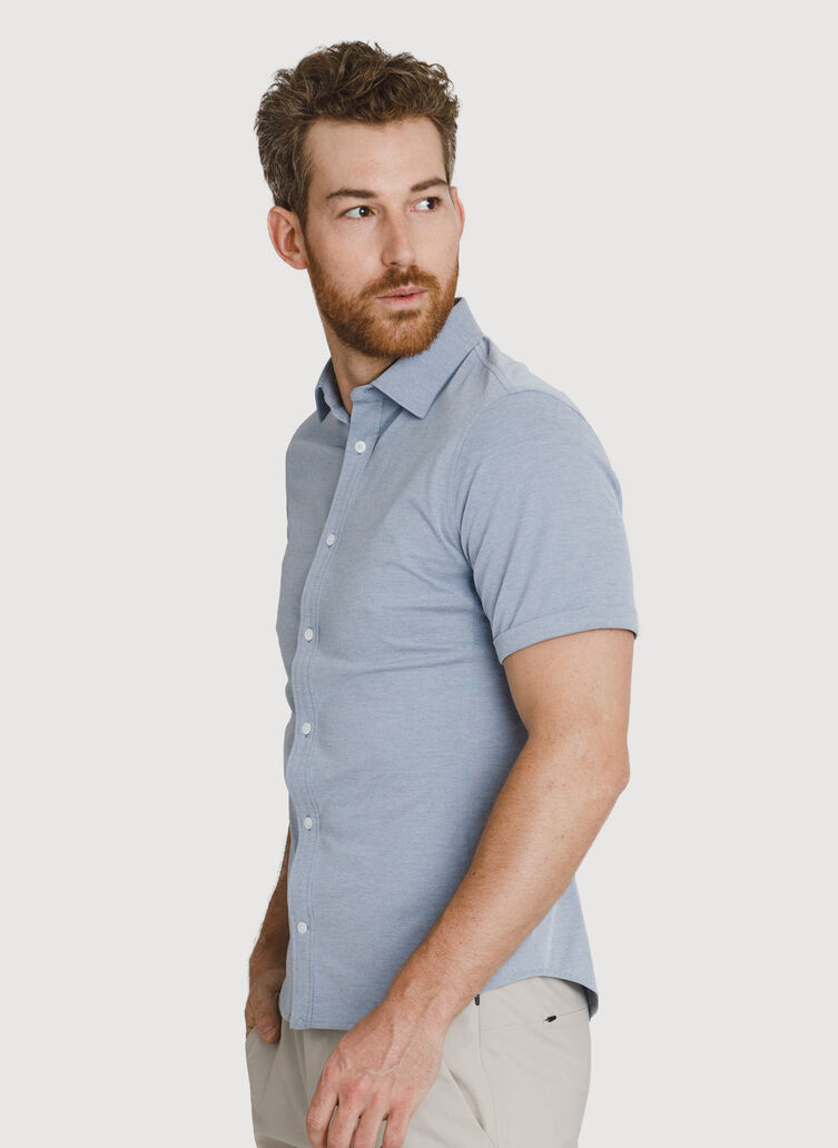 Court Stretch Button Down, Dark Denim Chambray | Kit and Ace