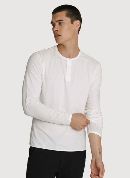 Stretch Pima Long Sleeve Henley, Bright White | Kit and Ace