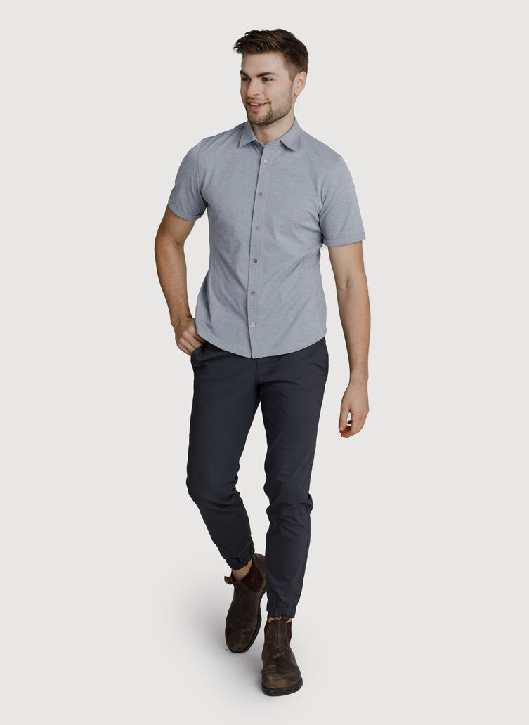 Court Stretch Button Down Shirt, Grey Chambray | Kit and Ace