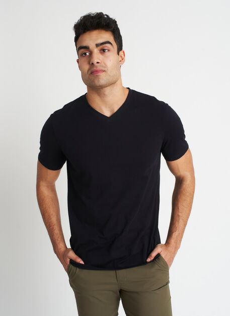 Ace Pima V-Neck Tee, Black | Kit and Ace
