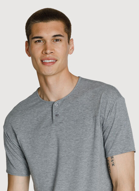 Lightweight Short Sleeve Henley, HTHR GREY | Kit and Ace