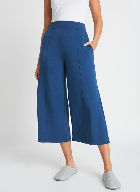 Brushed Lounge Cropped Pants, Heather Night Blue | Kit and Ace