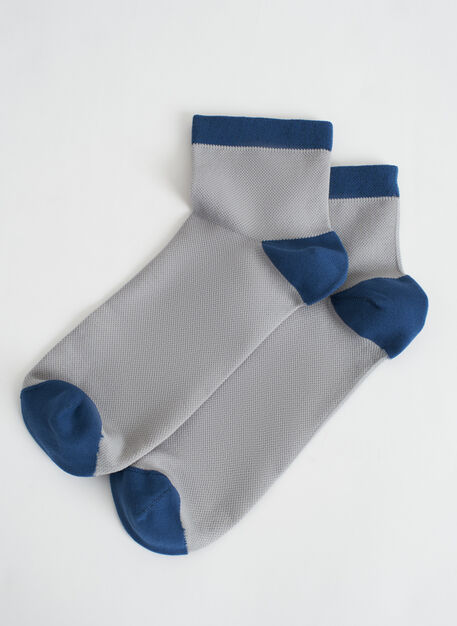 Motion 1/4 Crew Socks, Light Grey/Dark Denim | Kit and Ace
