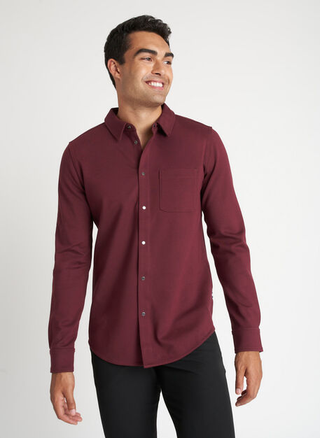 Double Knit Long Sleeve Shirt, Heather Plum | Kit and Ace