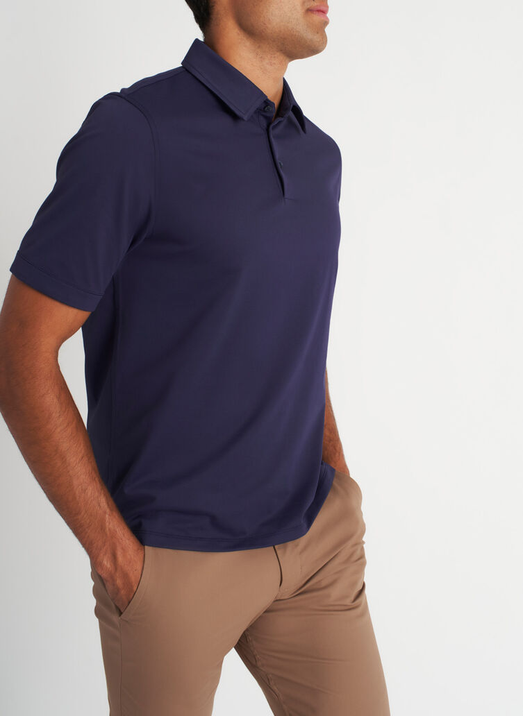 City Tech Polo Tee, Deep Navy | Kit and Ace