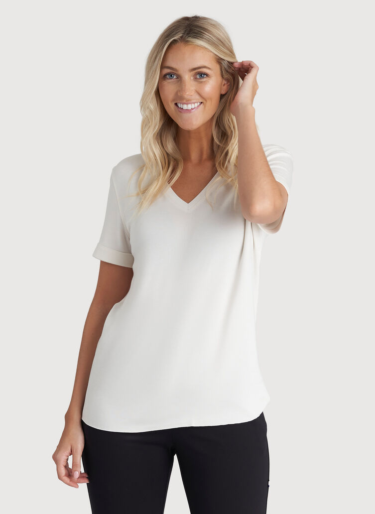 Good Feels V-Neck Tee, Bright White | Kit and Ace
