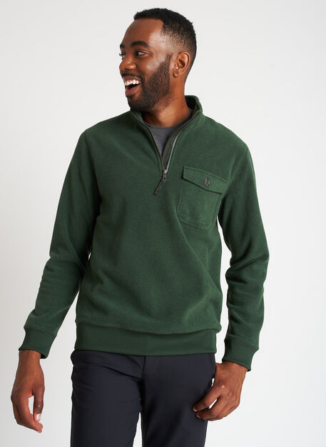 Water Resistant Fleece Zip Pullover, Heather Forest | Kit and Ace