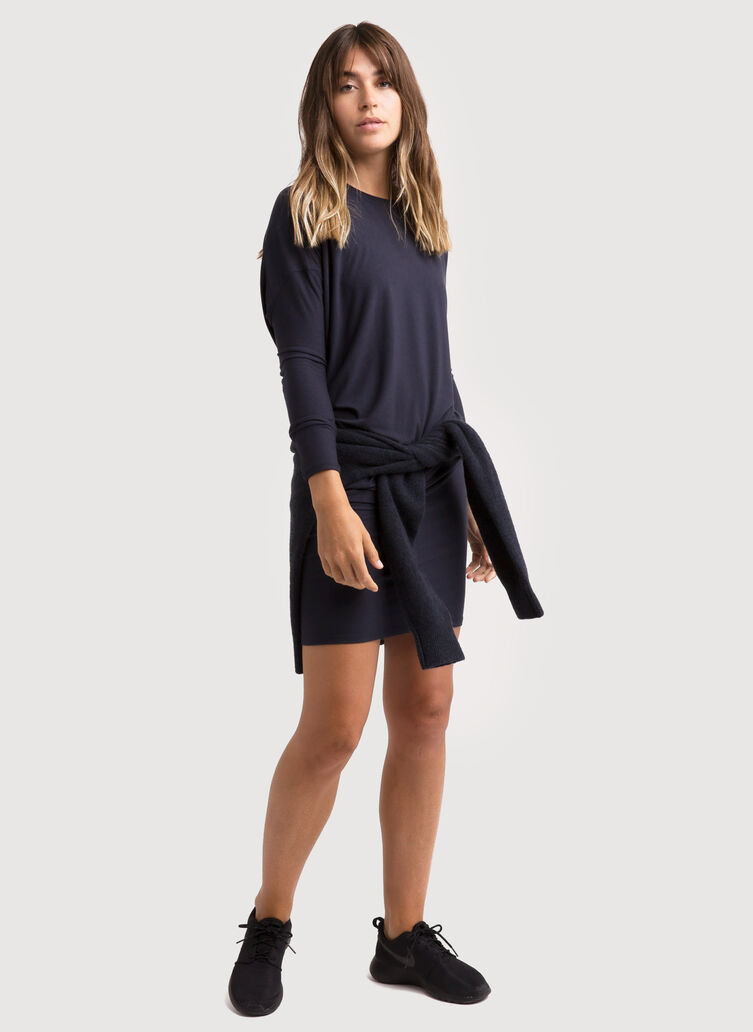 Wave Long Sleeve Dress, DK Navy | Kit and Ace