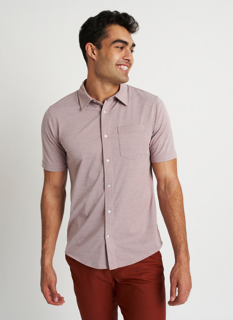 City Tech Classic Short Sleeve Shirt, Coffee Chambray | Kit and Ace