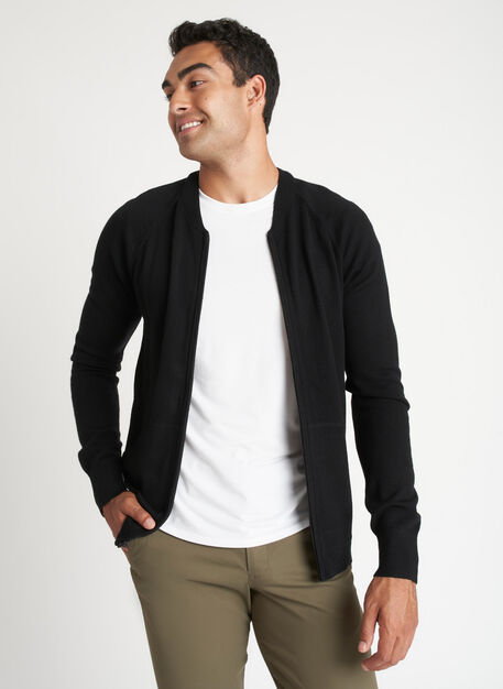 A to B Merino Bomber, Black | Kit and Ace