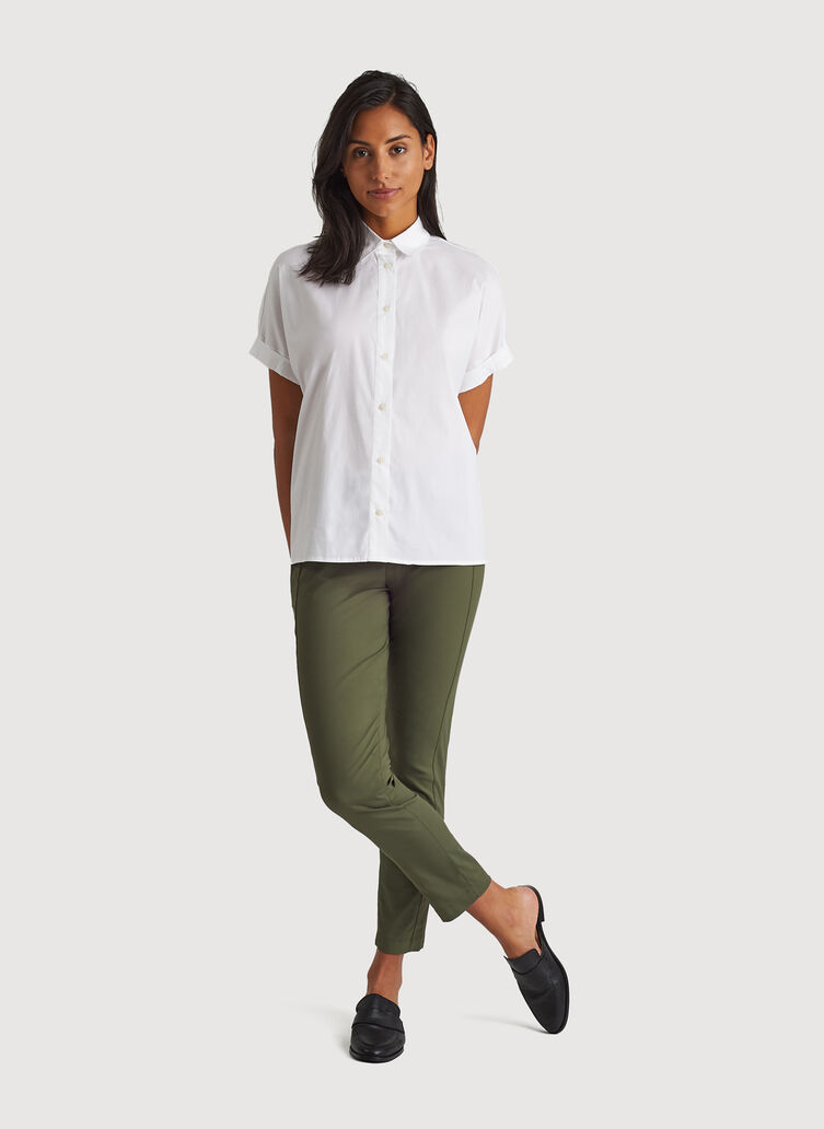 Stretch Shirting Oversized Blouse, Bright White | Kit and Ace