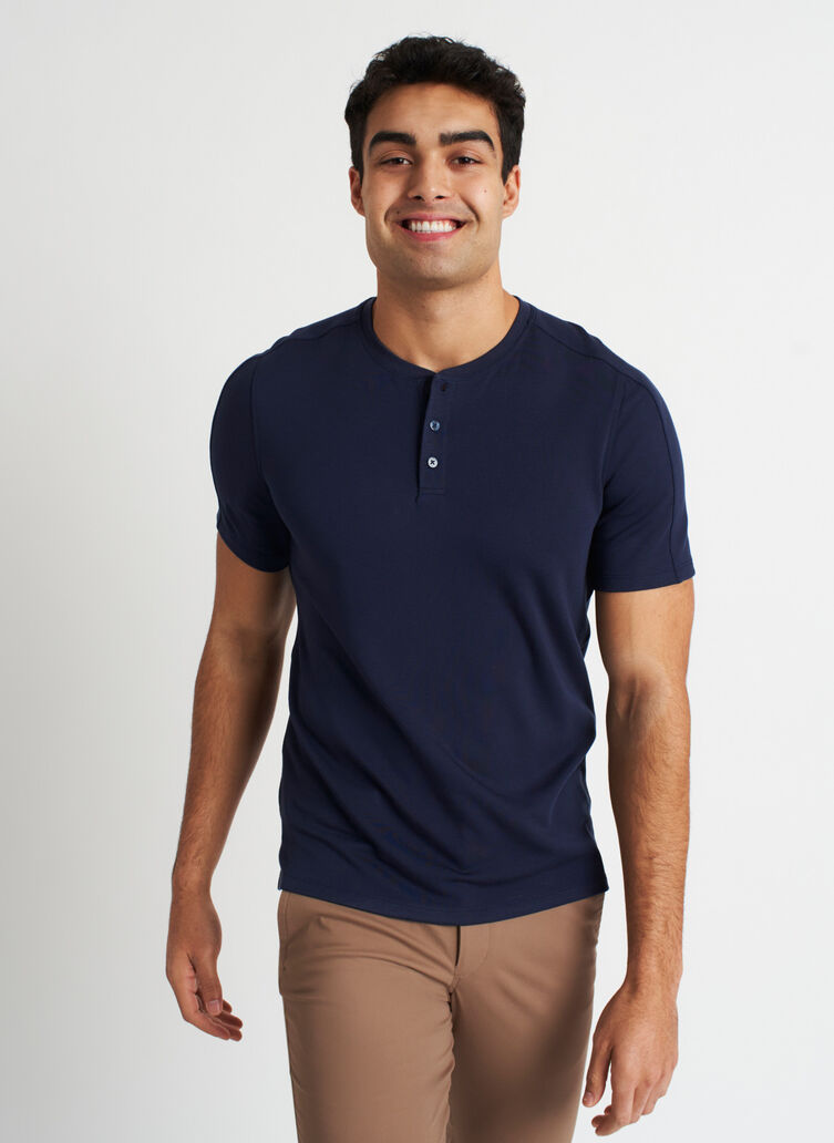 Comfy Brushed Henley Tee, Dark Navy   Kit and Ace