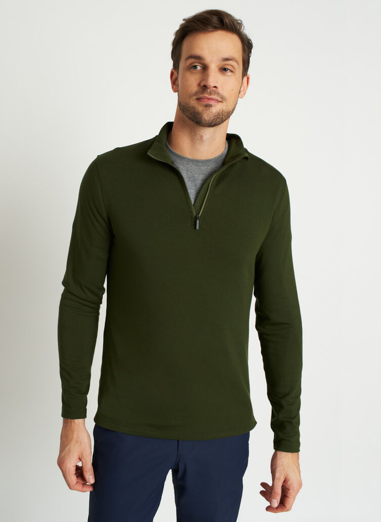 Comfy Brushed Quarter Zip Pullover, Grove Green | Kit and Ace