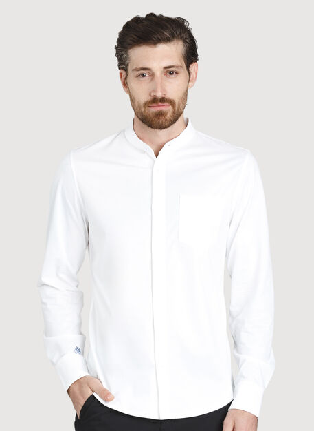 City Tech Collarless Shirt, Bright White   Kit and Ace