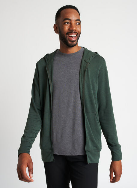 Brushed Zip Up Hoodie, Heather Forest | Kit and Ace