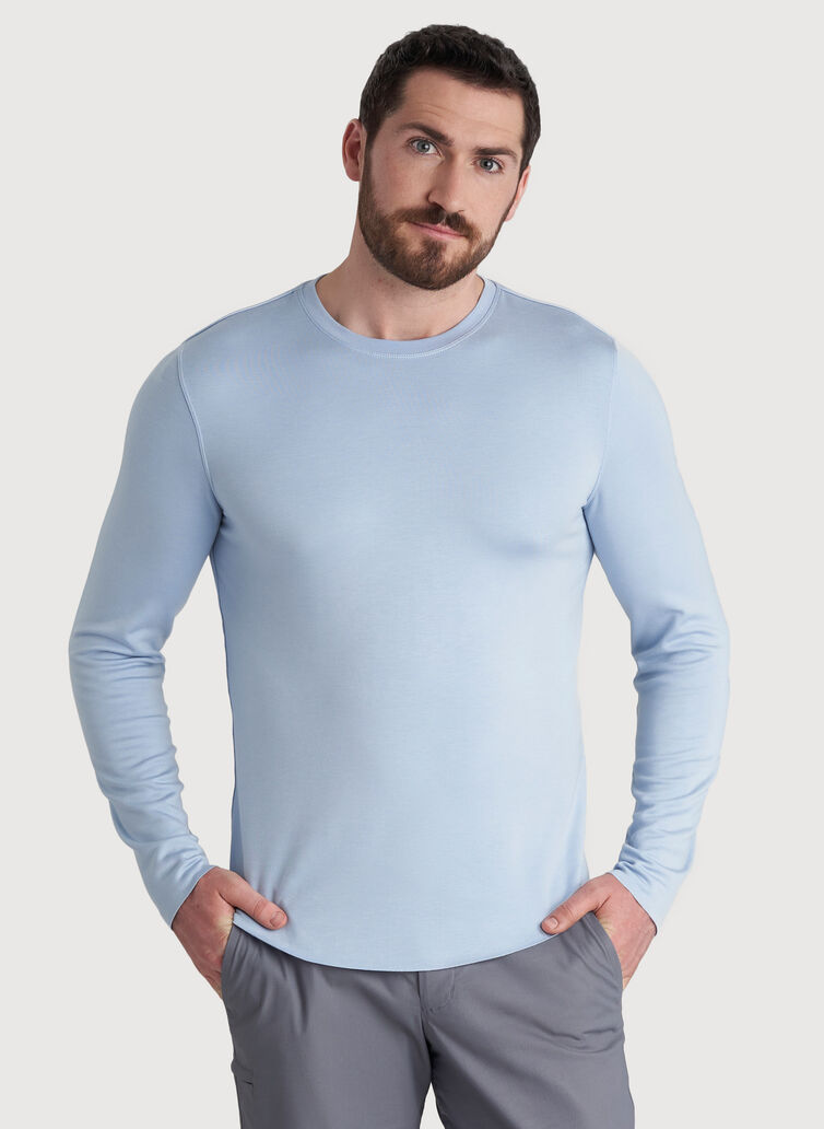 The B.F.T. Long Sleeve Crewneck Tee, Heather Celestial Blue | Kit and Ace