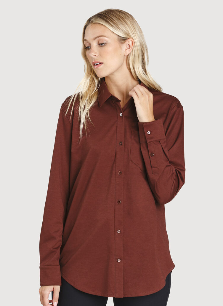 O.T.M. Boyfriend Button Up Shirt, Cherrywood | Kit and Ace