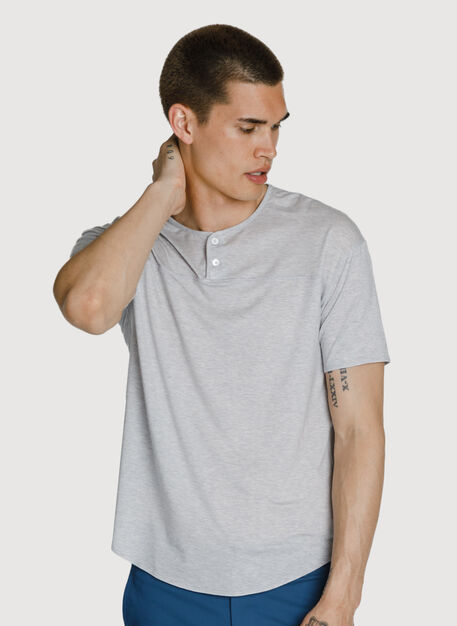 Lightweight Short Sleeve Henley, HTHR Ash | Kit and Ace