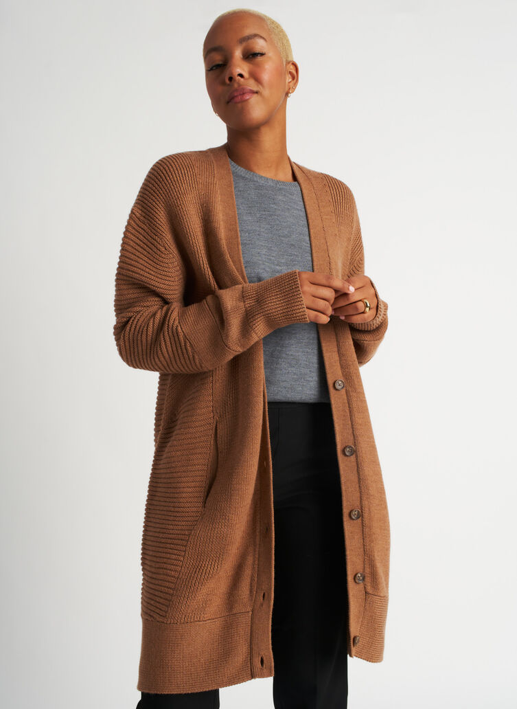 Ash Long Cardigan, Heather Toffee | Kit and Ace