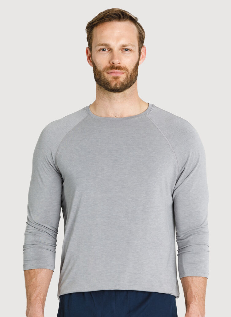 Ace Tech Jersey Baseball Tee, HTHR Light Grey | Kit and Ace