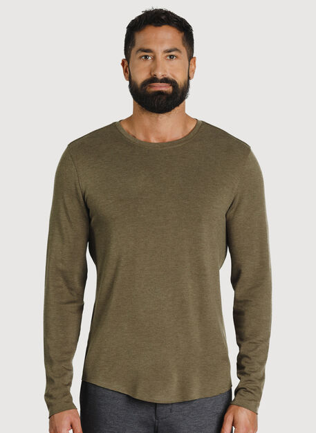 The B.F.T. Long Sleeve Crewneck Tee, Heather Moss | Kit and Ace