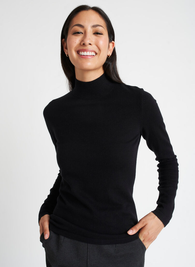 Fitted Merino Turtleneck Sweater, Black | Kit and Ace