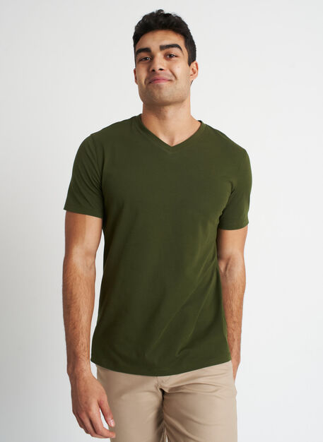 Ace Pima V-Neck Tee, Grove Green | Kit and Ace