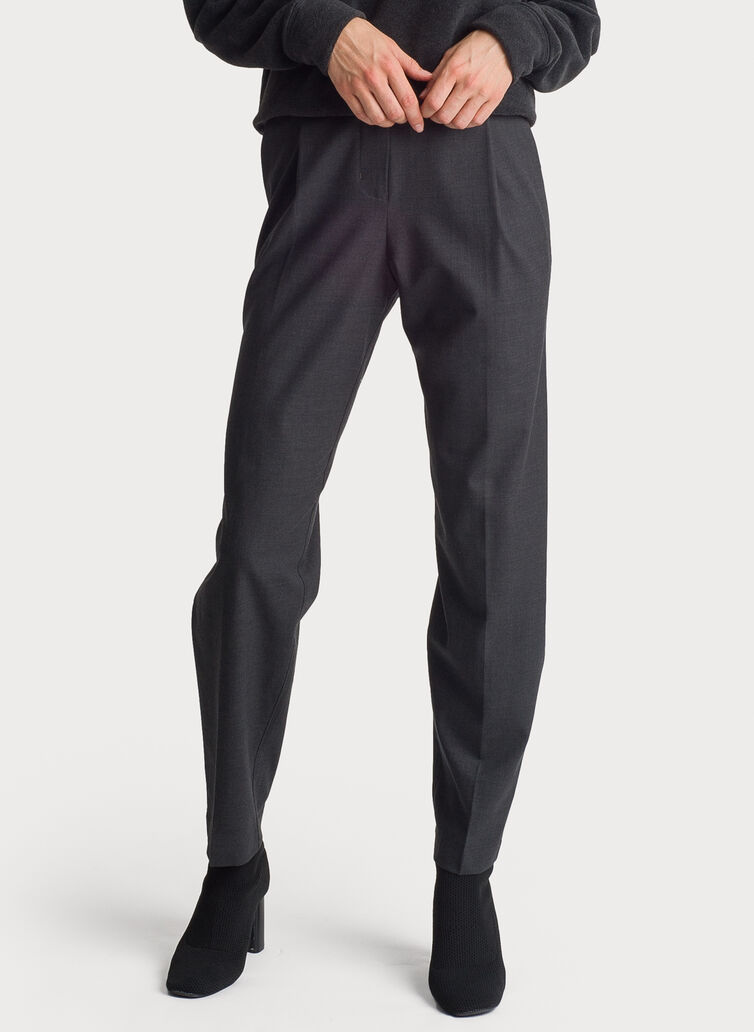Stretch Suiting Pleated Trousers, Heather Charcoal | Kit and Ace