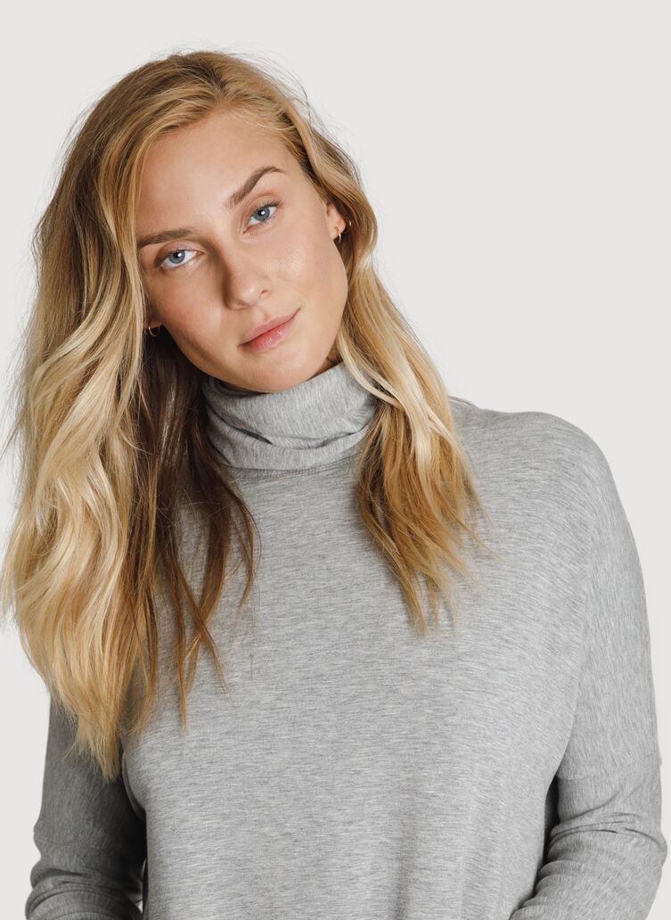 Burrow Brushed Turtleneck, HTHR Charcoal Grey | Kit and Ace