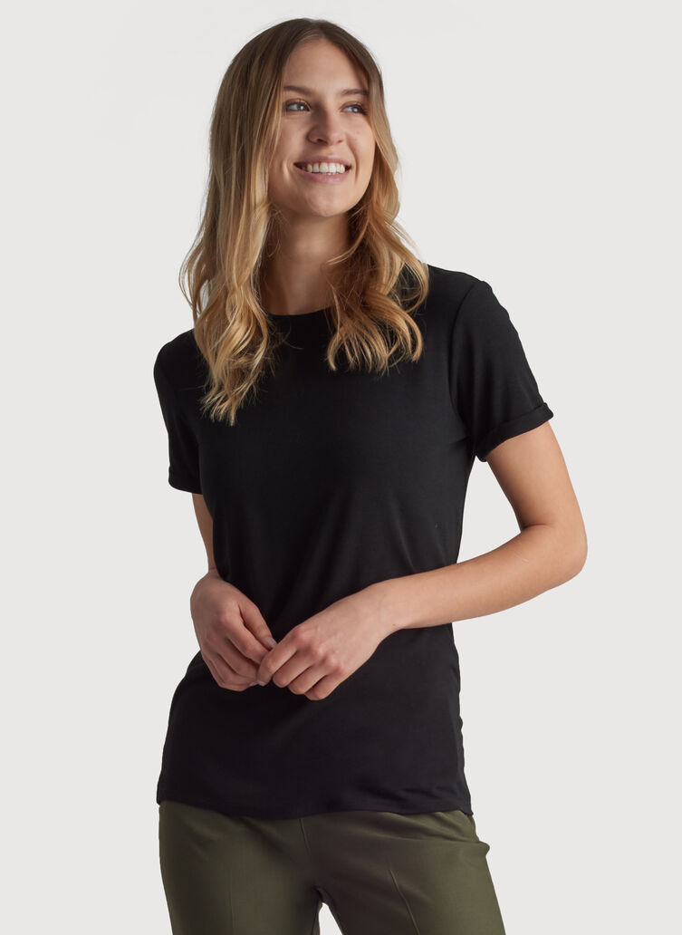 Kit Tech Jersey Crew Tee Relaxed Fit, HTHR Black | Kit and Ace
