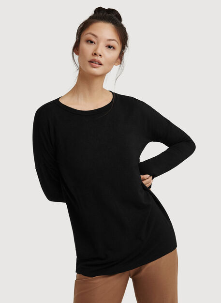 Hollis Brushed Long Sleeve, BLACK | Kit and Ace
