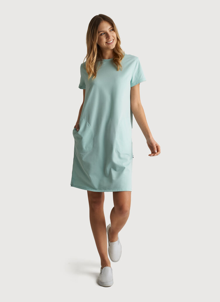 O.T.M. Short Sleeve Crew Dress, Seafoam Chambray | Kit and Ace