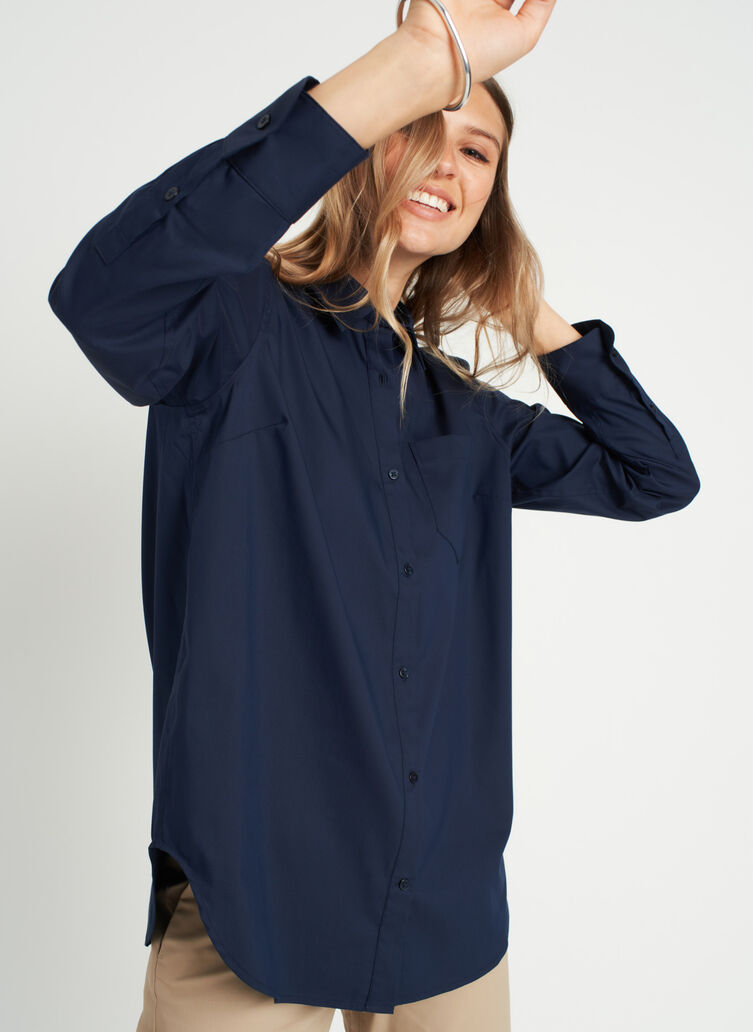 Keep It Cool Boyfriend Blouse, Dark Navy | Kit and Ace