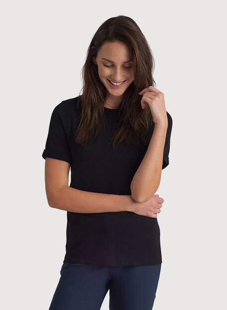 Kit Brushed Crew Tee, BLACK | Kit and Ace