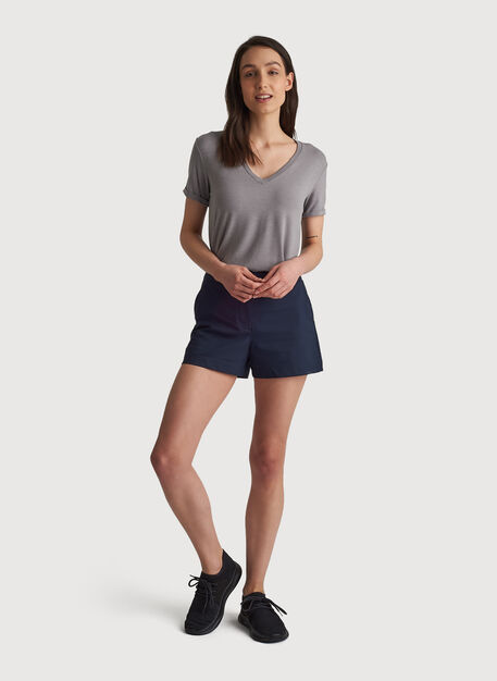 Kit Tech Jersey V Tee Relaxed Fit, HTHR Light Grey | Kit and Ace