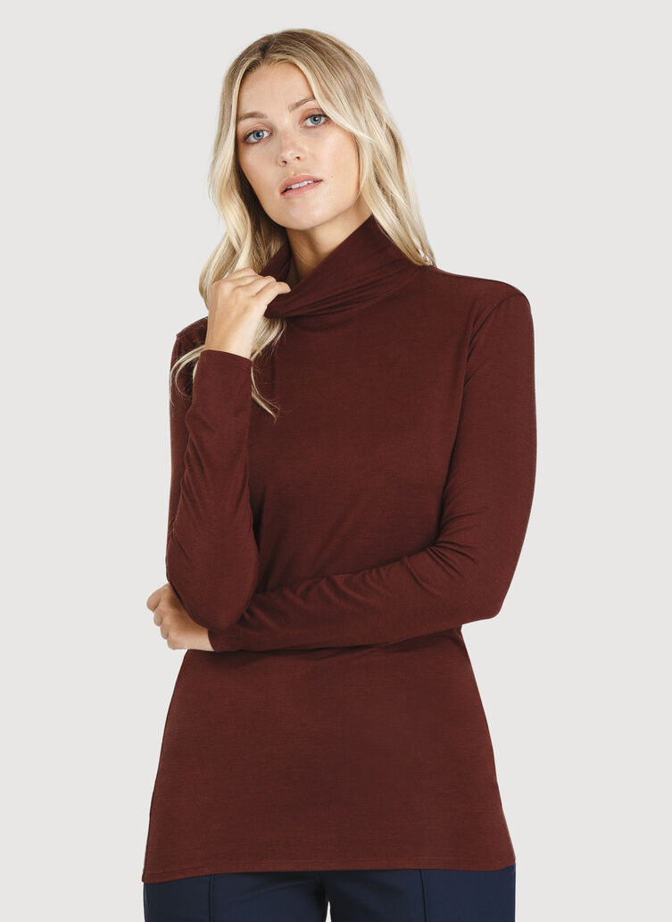 Kit Long Sleeve Turtleneck, Cherrywood | Kit and Ace