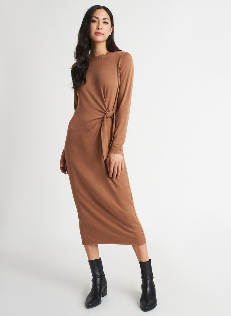 Brushed Tie Dress Long Sleeve, Heather Toffee | Kit and Ace