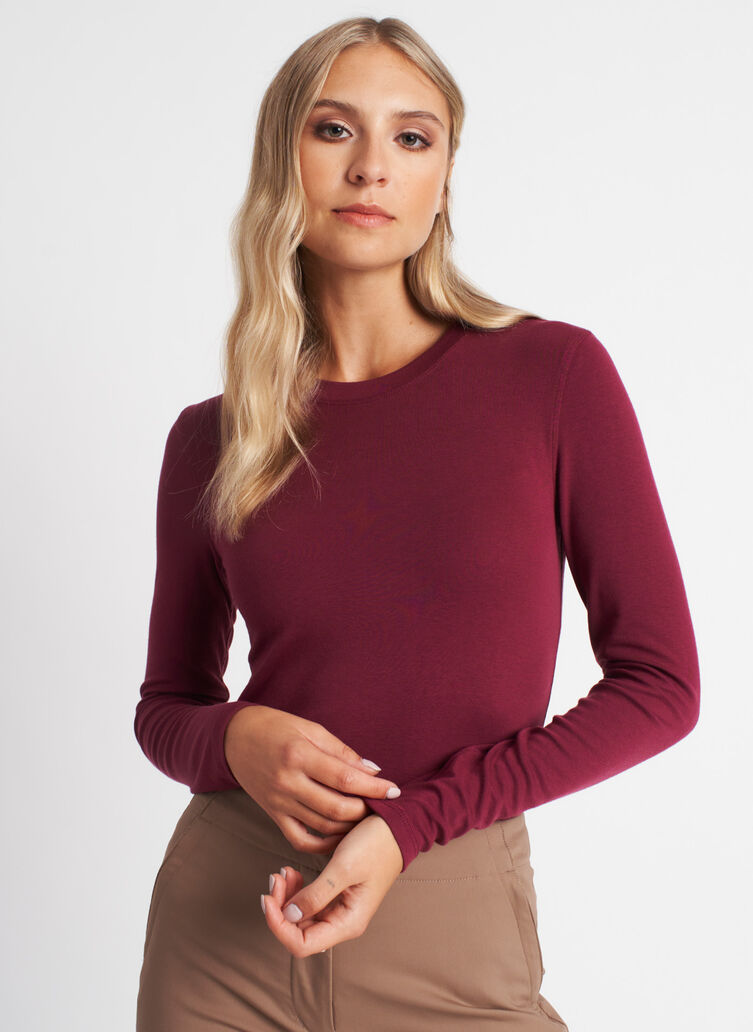 Kit Long Sleeve Crewneck Tee, Plum | Kit and Ace