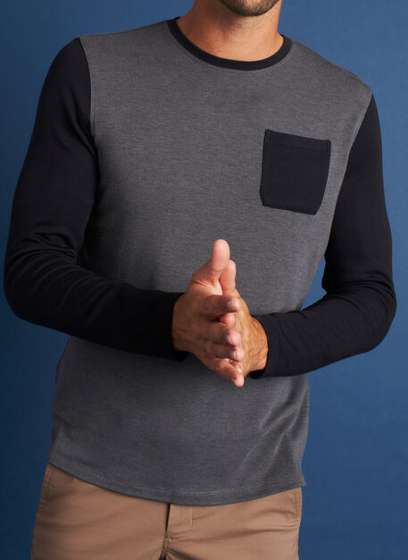 First Class Pocket Crewneck Tee, Heather Charcoal/Black | Kit and Ace