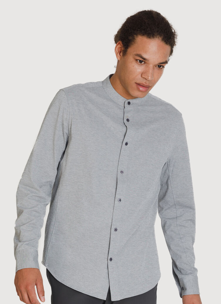 Court Stretch Relaxed Long Sleeve, Grey Chambray | Kit and Ace