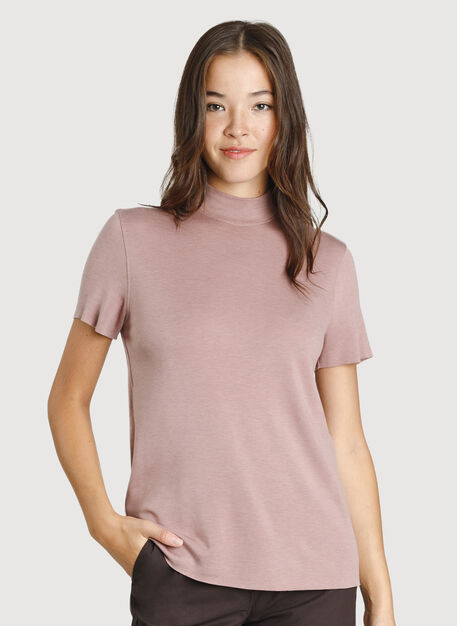 Good Feels Mock Neck Tee, Heather Fawn | Kit and Ace