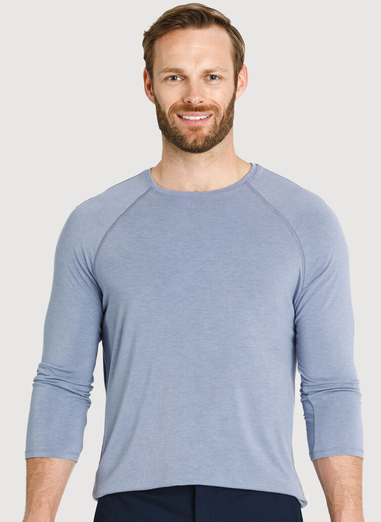 Ace Tech Jersey Baseball Tee, HTHR Stormy Sky | Kit and Ace