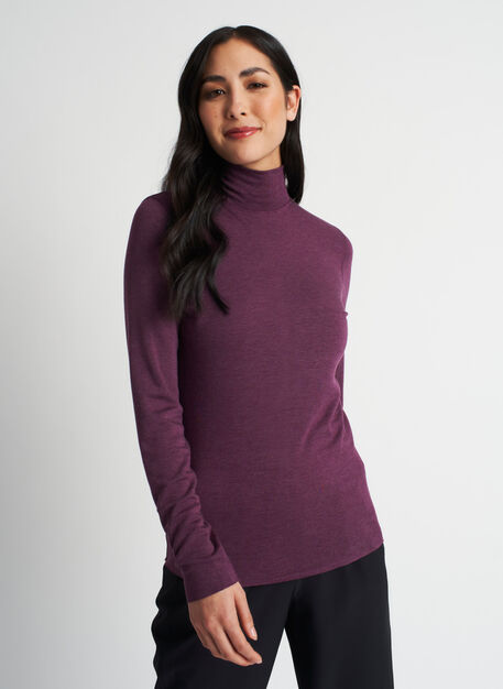 Upgrade Brushed Turtleneck, Heather Dark Plum | Kit and Ace