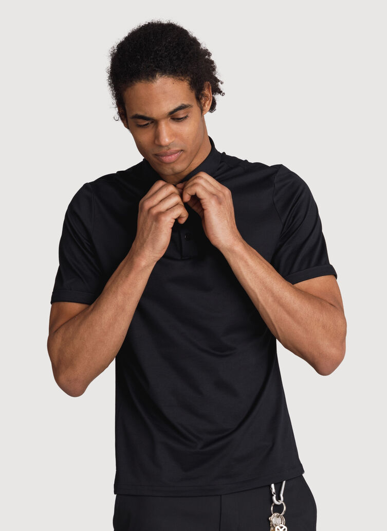 Court Stretch Polo, BLACK   Kit and Ace