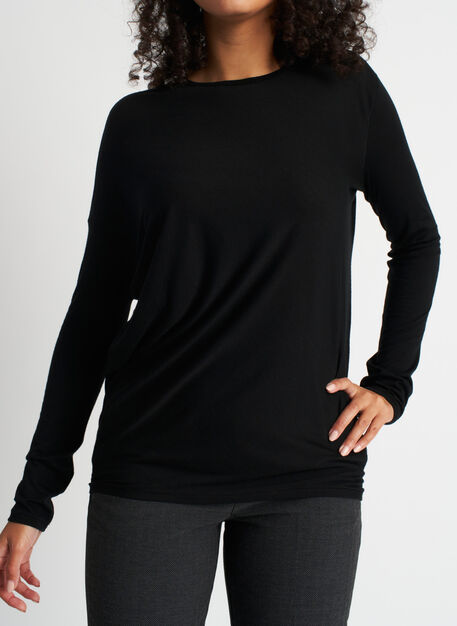 Effortless Merino Wave Long Sleeve Tee, Black | Kit and Ace