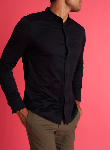 City Tech Collarless Shirt, Black | Kit and Ace
