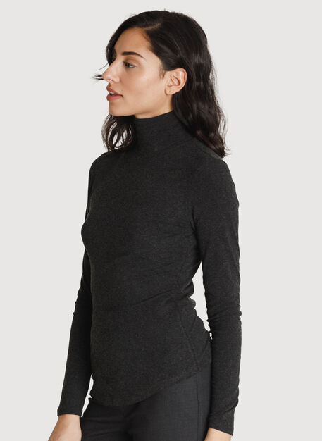 Rib Turtleneck Long Sleeve, HTHR Charcoal | Kit and Ace
