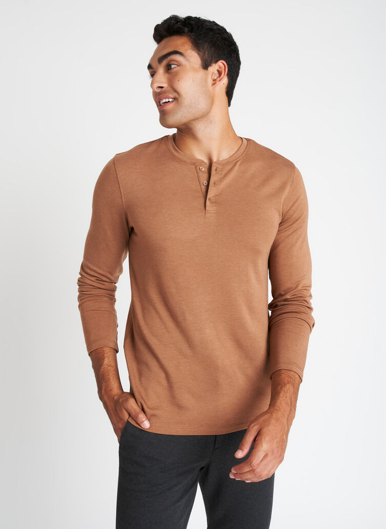 Upgraded Long Sleeve Henley Tee, Heather Toffee | Kit and Ace