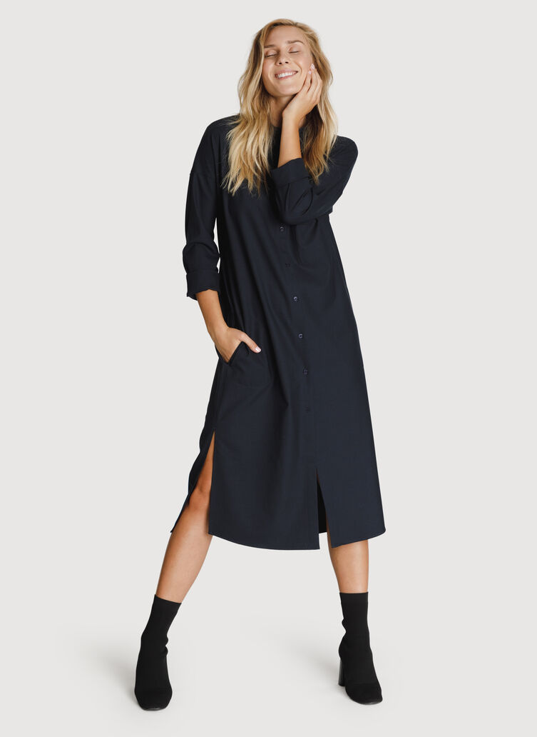 Button Up Blouse Dress, DK Navy | Kit and Ace