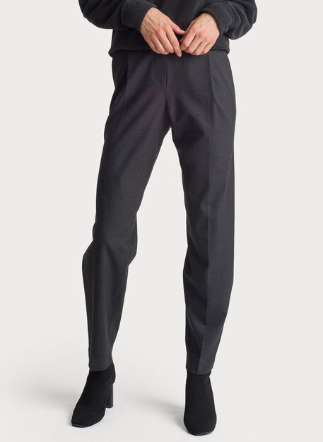 Stretch Suiting Pleated Trouser, HTHR Charcoal | Kit and Ace
